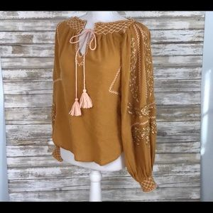 New - Embroidered Peasant Blouse by FreePeople